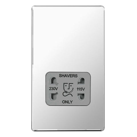 BG FPC20G Screwless Flat Plate Polished Chrome Shaver Socket 115/230V Dual Voltage with Grey Insert