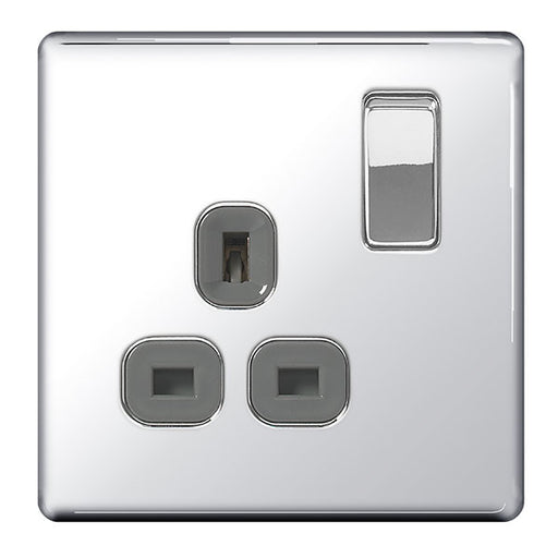 BG FPC21G Screwless Flat Plate Polished Chrome 13A 1G DP Switched Socket Grey Inserts - BG - Sparks Warehouse