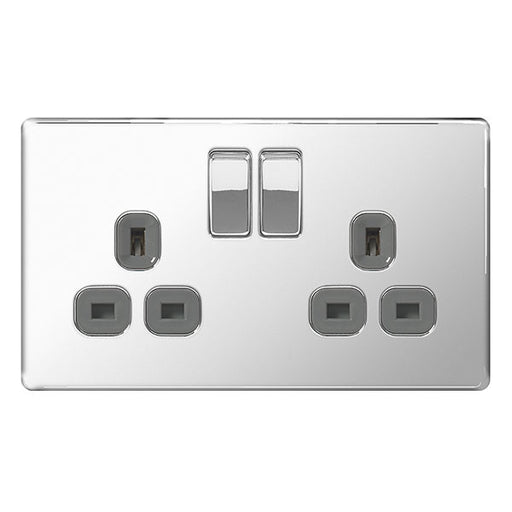 BG FPC22G Screwless Flat Plate Polished Chrome 13A 2G Double Pole Switched Socket Grey Inserts - BG - Sparks Warehouse