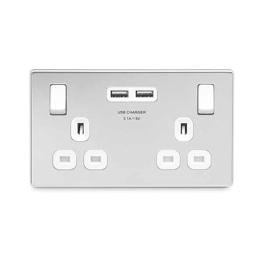 BG FPC22U3W Screwless Flat Plate Polished Chrome 13A 2G Switched Socket + USB - White - BG - sparks-warehouse