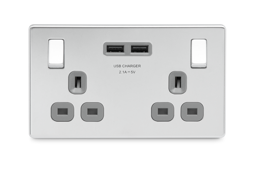 BG FPC22U3G Screwless Flat Plate Polished Chrome 13A 2G Switched Socket - USB Grey Inserts