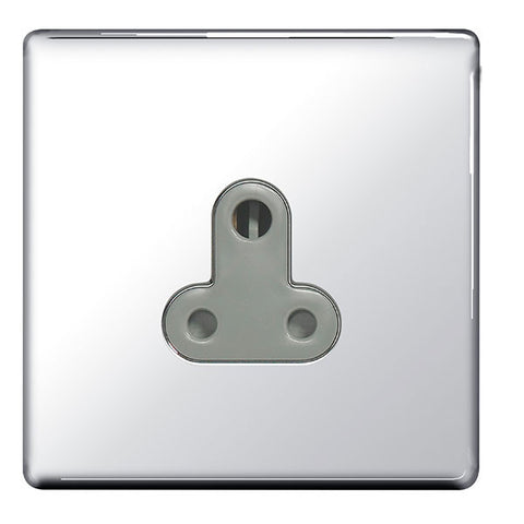 BG FPC29G Screwless Flat Plate Polished Chrome 5A Unswitched Round Pin Socket - Grey Insert