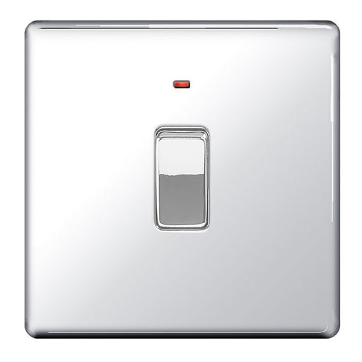 BG FPC31 Screwless Flat Plate Polished Chrome 20A DP Switch With Indicator - BG - sparks-warehouse