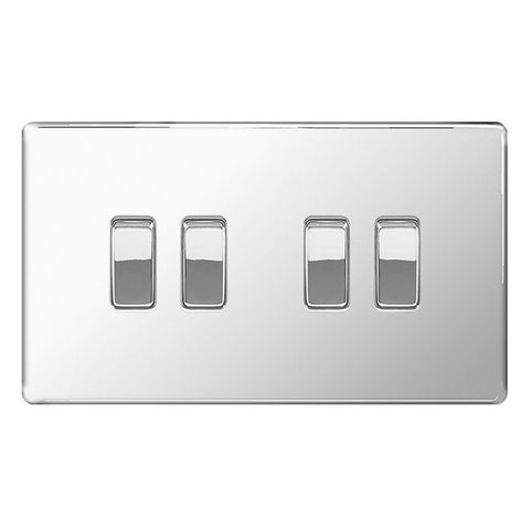BG FPC44 Screwless Flat Plate Polished Chrome 10A 4 Gang 2 Way Plate Switch