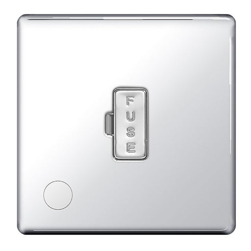 BG FPC55 Screwless Flat Plate Polished Chrome 13A Unswitched Fused Connection Unit And Flex Outlet