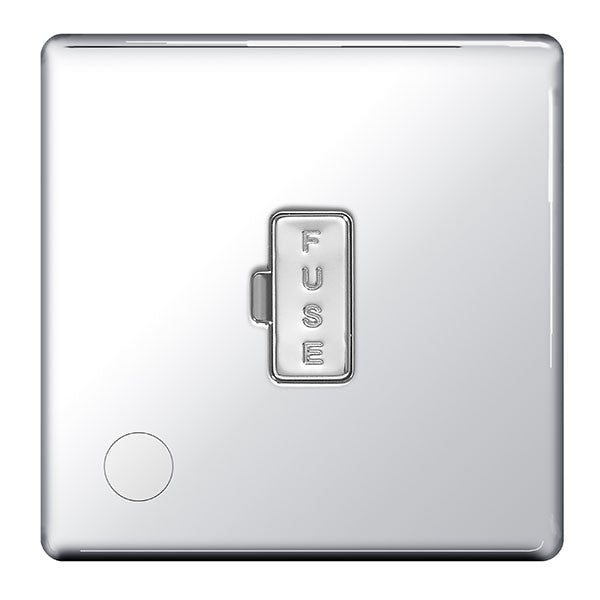 BG FPC55 Screwless Flat Plate Polished Chrome 13A Unswitched Fused Connection Unit And Flex Outlet - BG - sparks-warehouse