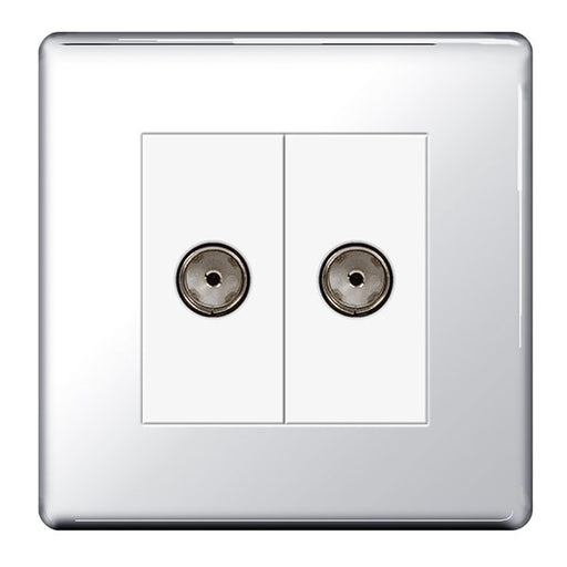 BG FPC61 Screwless Flat Plate Polished Chrome 2 Gang Co-Axial Socket