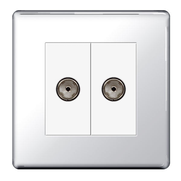 BG FPC61 Screwless Flat Plate Polished Chrome 2 Gang Co-Axial Socket - BG - sparks-warehouse