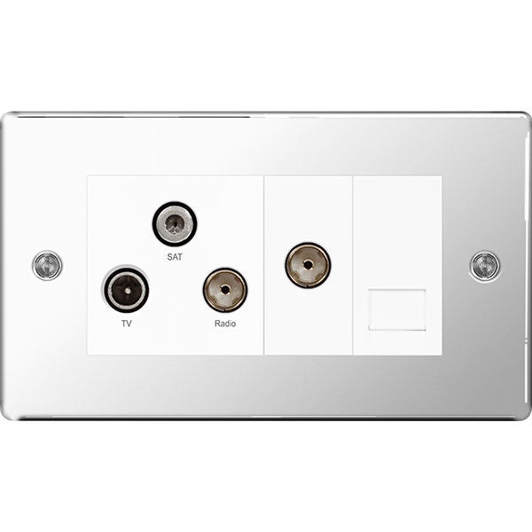 BG FPC68 Screwless Flat Plate Polished Chrome Triplex TV/FM/SAT & 1G Phone - BG - sparks-warehouse