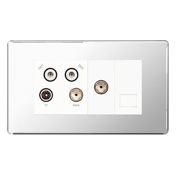 BG FPC69 Screwless Flat Plate Polished Chrome Quadplex TV/FM/SAT & 1 Gang Phone - Screened - BG - sparks-warehouse