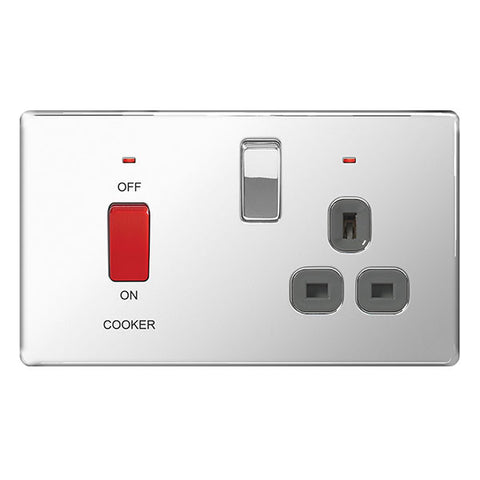 BG FPC70G Screwless Flat Plate Polished Chrome 45A Cooker Connection Unit Switched Socket Power - Grey Insert