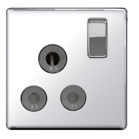 BG FPC99G Screwless Flat Plate Polished Chrome 15A 1G Switched Socket Grey Insert