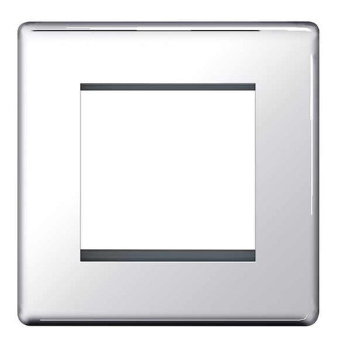 BG FPCEMS2 Screwless Flat Plate Polished Chrome Front Plate 2 Module (50 X 50) - BG - sparks-warehouse