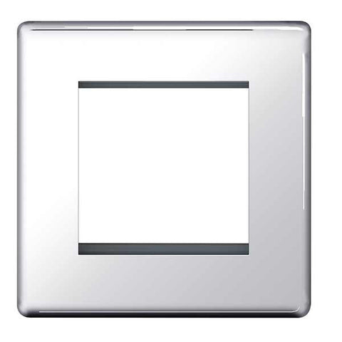 BG FPCEMS2 Screwless Flat Plate Polished Chrome Front Plate 2 Module (50 X 50)