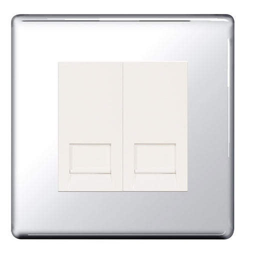 BG FPCRJ112 Screwless Flat Plate Polished Chrome 2G RJ11 Telcom Outlet