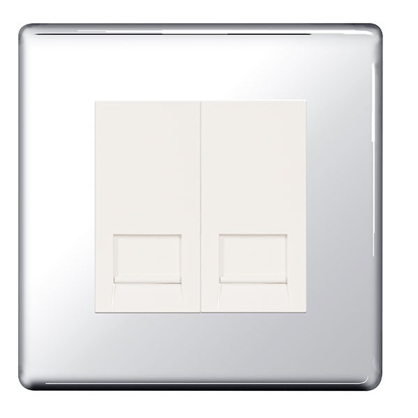 BG FPCRJ112 Screwless Flat Plate Polished Chrome 2G RJ11 Telcom Outlet - BG - sparks-warehouse