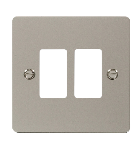 Scolmore FPPN20402 - 2 Gang GridPro® Frontplate - Pearl Nickel - Scolmore - Sparks Warehouse