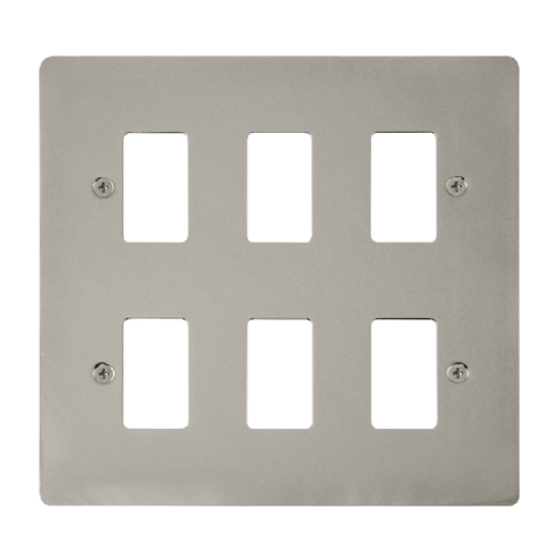 Scolmore FPPN20506 - 6 Gang GridPro® Frontplate - Pearl Nickel - Scolmore - Sparks Warehouse