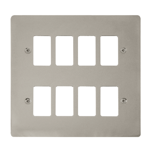 Scolmore FPPN20508 - 8 Gang GridPro® Frontplate - Pearl Nickel - Scolmore - Sparks Warehouse
