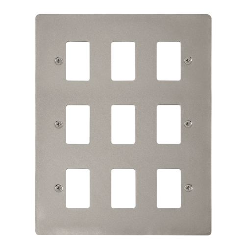 Scolmore FPPN20509 - 9 Gang GridPro® Frontplate - Pearl Nickel - Scolmore - Sparks Warehouse