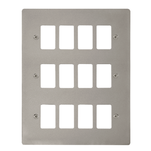 Scolmore FPPN20512 - 12 Gang GridPro® Frontplate - Pearl Nickel - Scolmore - Sparks Warehouse