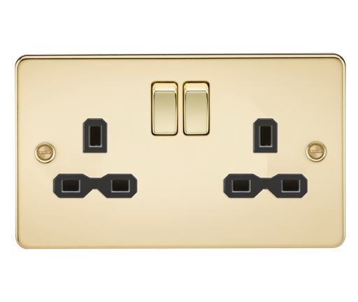 Knightsbridge FPR9000PB Flat plate 13A 2G DP switched socket - polished brass with black insert