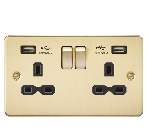Knightsbridge FPR9224BB Flat Plate 13A 2G DP Switched USB Socket - Brushed Brass With Black Insert - Knightsbridge - Sparks Warehouse