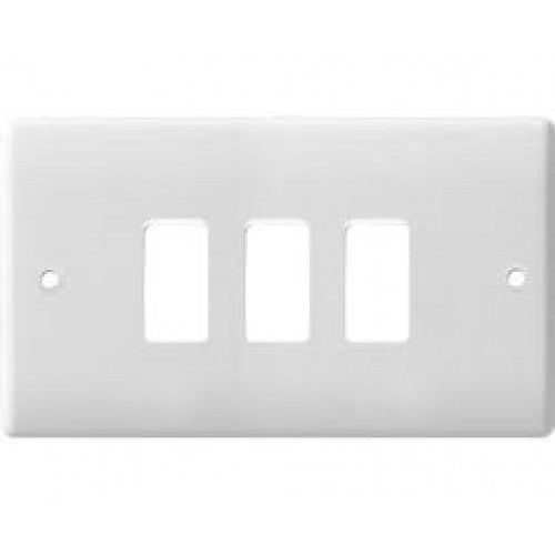 BG Nexus G83 Nexus Moulded 3 Gang White Front Plate - BG - sparks-warehouse