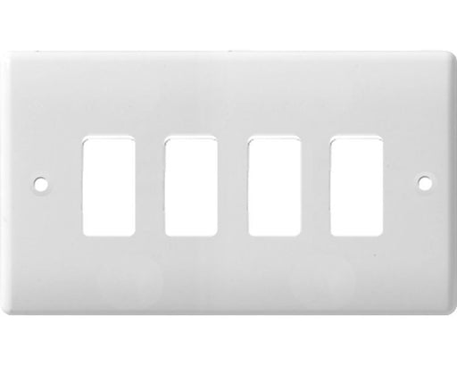 BG Nexus G84 Grid Moulded 4 Gang White Front Plate