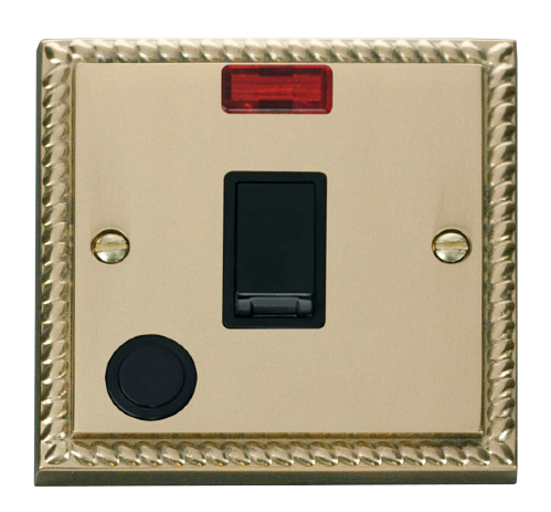 Scolmore GCBR023BK - 20A 1 Gang DP Switch With Flex Outlet And Neon - Black - Scolmore - Sparks Warehouse