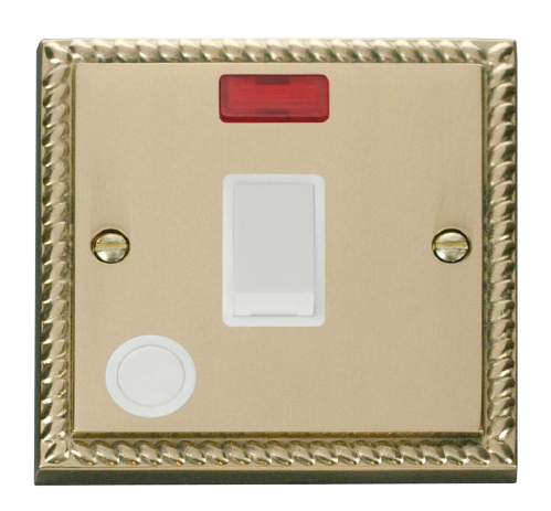 Scolmore GCBR023WH - 20A 1 Gang DP Switch With Flex Outlet And Neon - White - Scolmore - Sparks Warehouse