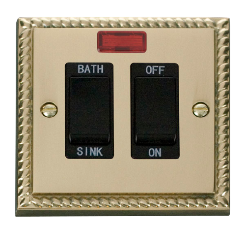 Scolmore GCBR024BK - 20A DP Sink/Bath Switch - Black - Scolmore - Sparks Warehouse