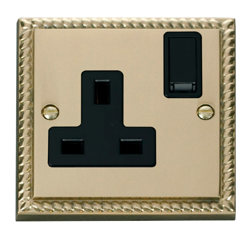 Scolmore GCBR035BK - 1 Gang 13A DP Switched Socket Outlet - Black - Scolmore - Sparks Warehouse