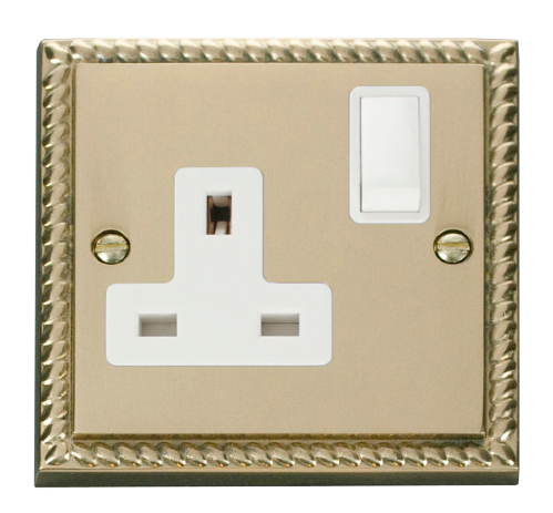 Scolmore GCBR035WH - 1 Gang 13A DP Switched Socket Outlet - White - Scolmore - Sparks Warehouse