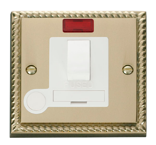 Scolmore GCBR052WH - 13A Fused Switched Connection Unit With Flex Outlet & Neon - White - Scolmore - Sparks Warehouse