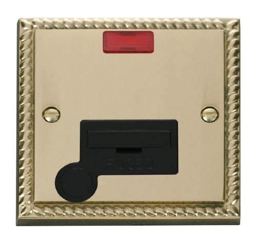 Scolmore GCBR053BK - 13A Fused Connection Unit With Flex Outlet & Neon - Black - Scolmore - Sparks Warehouse