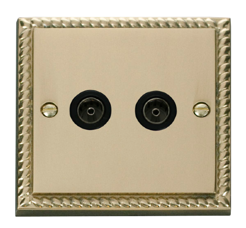 Scolmore GCBR066BK - Twin Coaxial Socket Outlet - Black - Scolmore - Sparks Warehouse