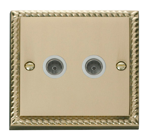 Scolmore GCBR066WH - Twin Coaxial Socket Outlet - White - Scolmore - Sparks Warehouse