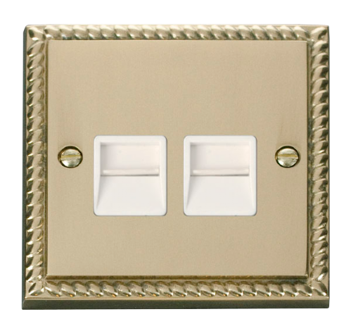 Scolmore GCBR121WH - Twin Telephone Socket Outlet Master - White - Scolmore - Sparks Warehouse