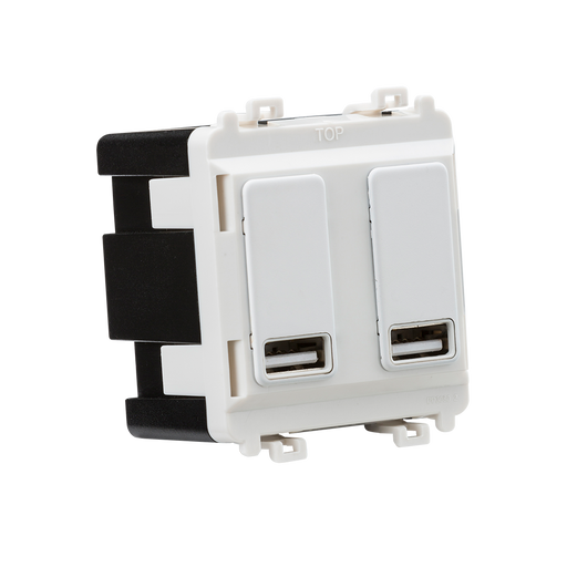 Knightsbridge GDM016MW Dual USB charger module (2 x grid positions) 5V 2.4A (shared) - matt white