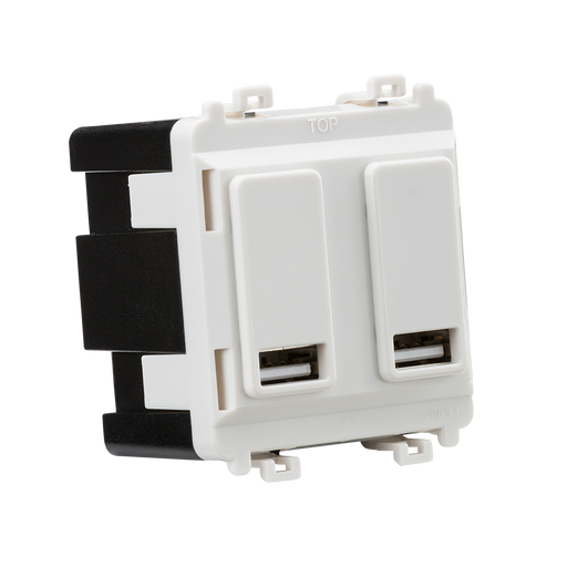 Knightsbridge GDM016U Dual USB charger module (2 x grid positions) 5V 2.4A (shared) - white