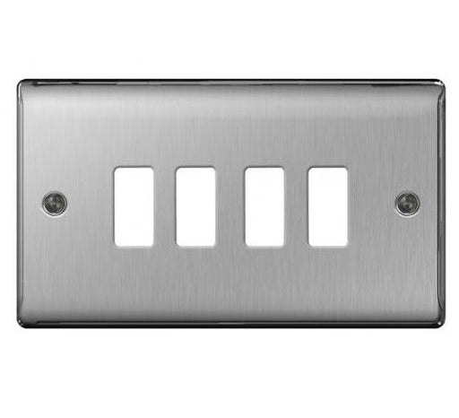 BG Nexus GNBS4 Grid Brushed Steel 4 Gang Front Plate - BG - sparks-warehouse