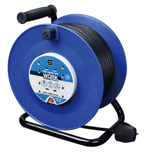 BG HDCC5013/4BL 13A 50M 4 Gang Heavy Duty Cable Extension Reel