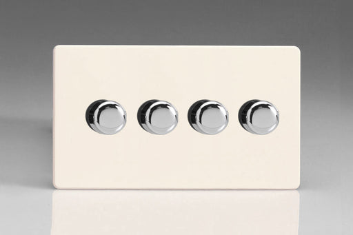 Varilight JDYDP254S.PD - 4-Gang 2-Way Push-On/Off Rotary LED Dimmer 4 x 0-120W (1-10 LEDs) (Twin Plate)