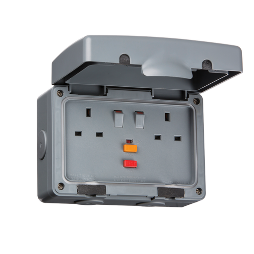 Knightsbridge IPRCD IP66 13A RCD 2 Gang Outdoor Switched Socket