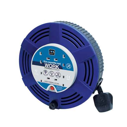 BG LCT1510/4BL 10A 15M 4 Gang Large Cassette Cable Reel in Blue - BG - Sparks Warehouse