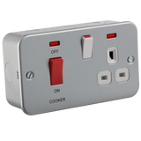 Knightsbridge MR8333N Metal Clad 45A DP Switch & 13A Switched Socket With Neon