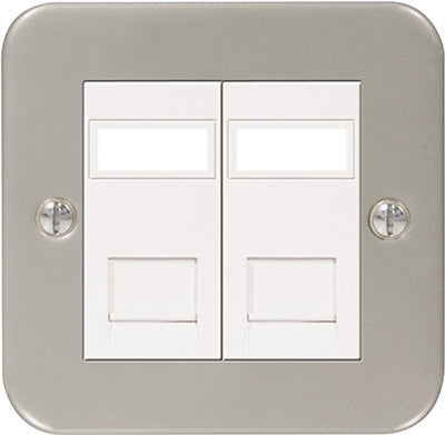 BG MC5RJ452 Metal Clad RJ45 Data Outlet Socket 2G, With IDC Window - BG - sparks-warehouse