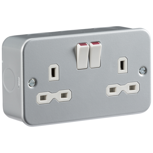 Knightsbridge MR9000 Metal Clad 13A 2G DP Switched Socket - Knightsbridge - sparks-warehouse