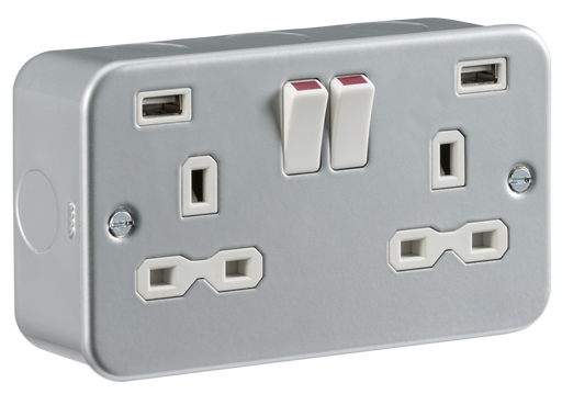 Knightsbridge MR9224 Metal Clad 13A 2G Switched Socket with USB - Knightsbridge - sparks-warehouse